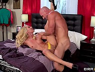 Blonde MILF Aaliyah Love catches bald pervert in her bedroom and forces to satisfy her needs