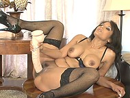 Exotic MILF in stockings Anjanette Astoria compensates lack of dicking using massive dildo