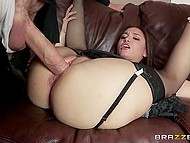 Squirting maid Gabriella Paltrova in stockings works off vote of confidence by anal fuck