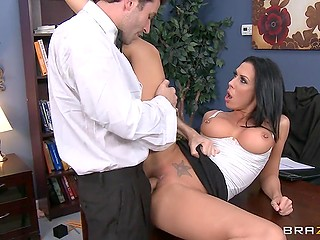 Office owner Rachel Starr doesn't kick the brazen magician out only because of awesome fuck