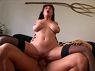 Mature female with big tits likes to wear stockings and obtain sperm on the face after coition