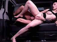 Lucky driver has unforgettable sex with lingerie model Sarah Highlight in the backseat