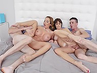 Boys understand what happiness means when the lecherous stepmoms involve them in group fuck