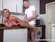 Married Dutch woman with big tits takes off nerdy boy's pants to suck cock and be fucked in pussy