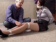 Boss calls the secretary to his office not to give a bonus but to tie up the pretty girl