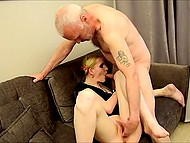Slender Estonian blonde catches mature lover watching porn and drags him into quick fuck