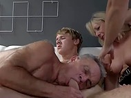 Guy has fun with blonde mature until they are joined by woman's husband who wanted to suck boy's dick